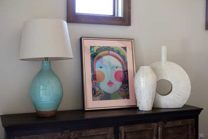 funky art, colorful touches, keep it fun, shells, lamps,