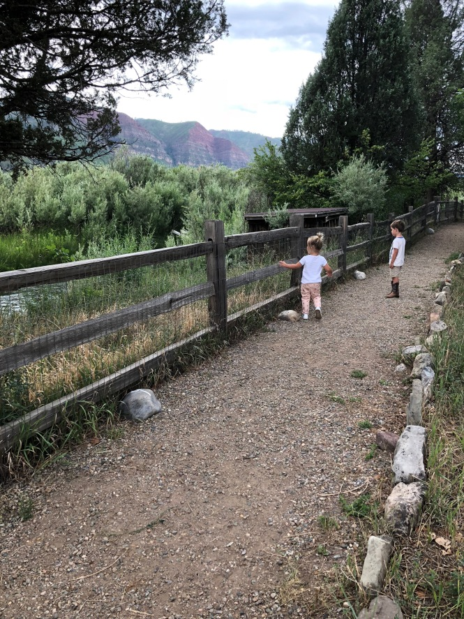 kids exploring along the river at James Ranch sustainable beef and produce in Durango Colorado