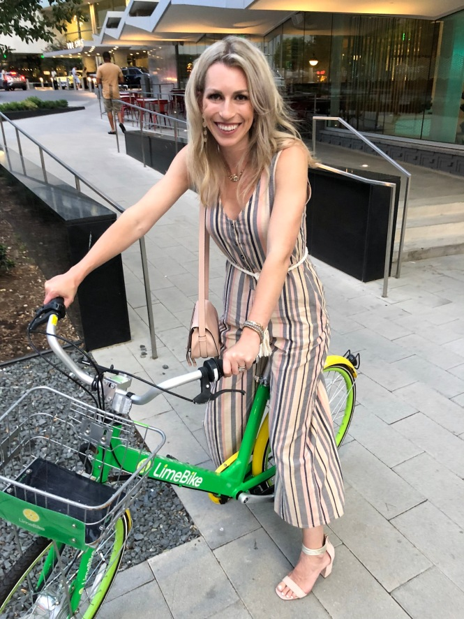 Riding a Lime Bike in Downtown Dallas