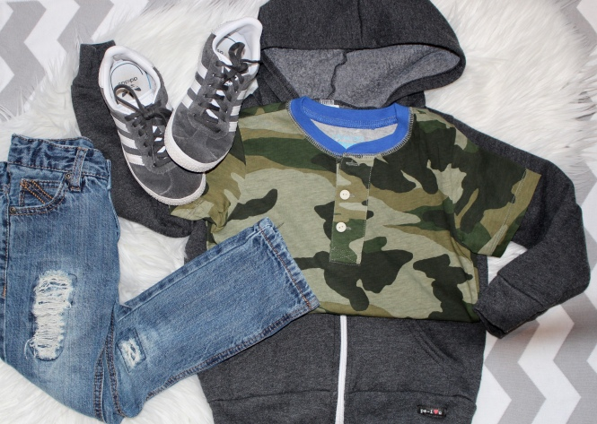 toddler boy casual outfit: DKNY jeans, camo shirt, hoodie, adidas sneakers