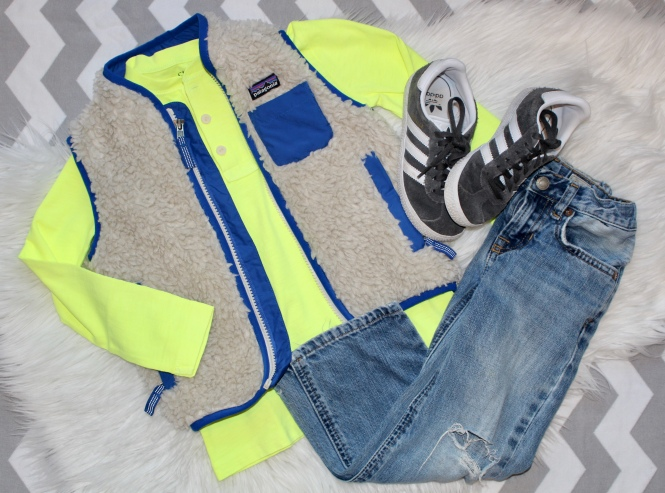 toddler boy neon button tee, patagonia sherpa vest, ralph lauren jeans, adidas sneakers, j crew