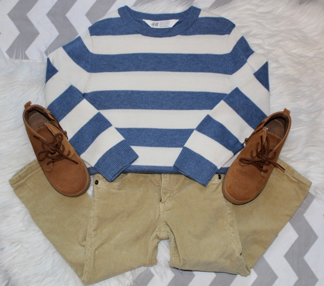 toddler boy sunday style: strip sweater, cords, sneaker boots, h&m, gap, j crew