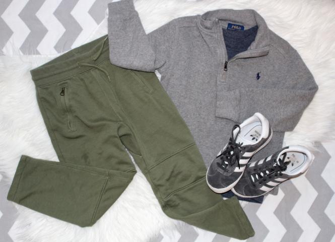 toddler boy army green joggers, adidas sneakers, 1/2 zip ralph lauren pullover, t-shirt